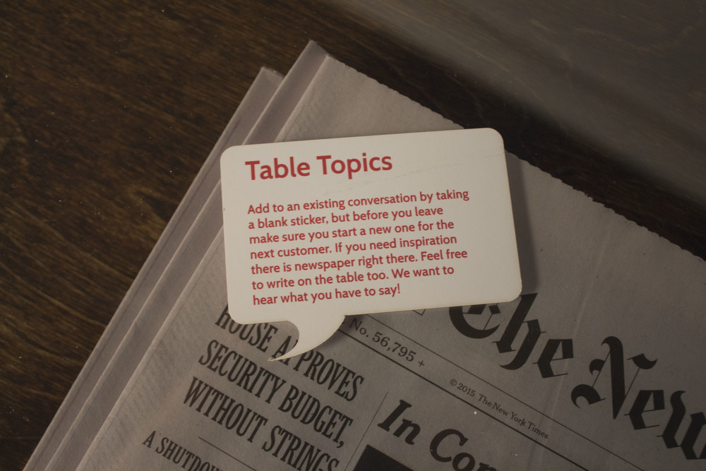Instruction card to be left on table