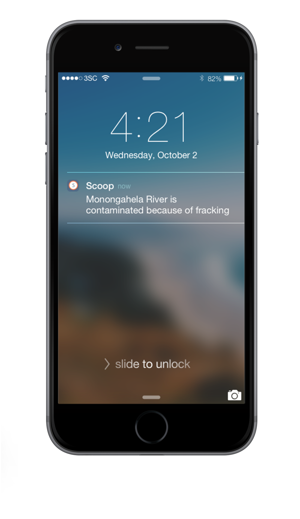 Scoop sends a notification when the user is at a designated location .