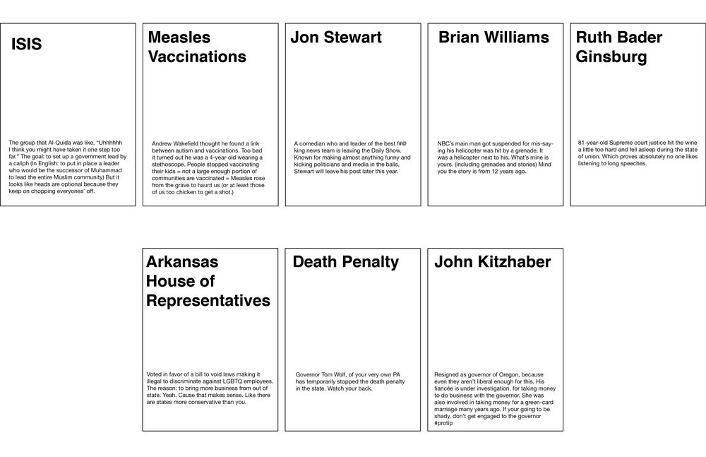 "I created my own cards to watch people play a current events version of ""Apples to Apples."""
