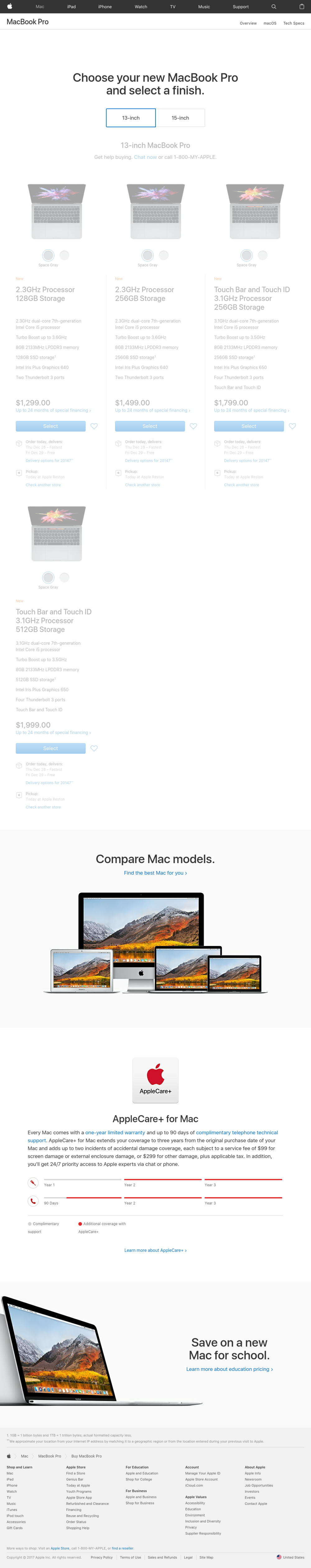 A screenshot taken of https://www.apple.com/shop/buy-mac/macbook-pro/13-inch on December 26, 2017. The Retina MacBook Pro is not listed.
