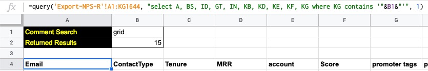 In the example above the search term is pulled in from cell B1 in the current sheet and cell B2 shows how many rows are returned.