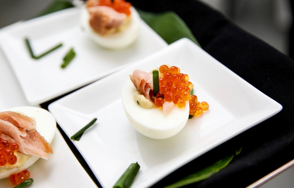 Deviled Eggs with Smoked Salmon and Caviar