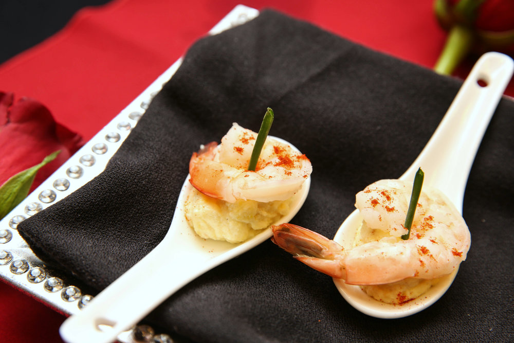 Corn Pudding with Poached Shrimp