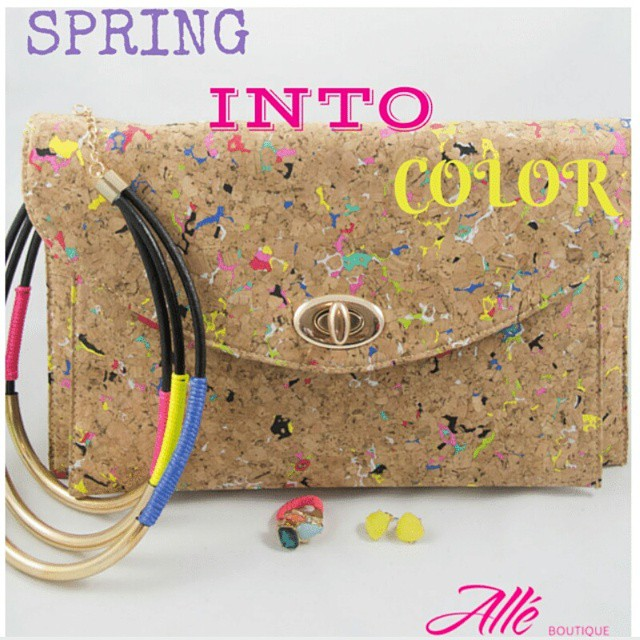 Spring Collection  coming 3-27-15 to alleboutique.com #springaccessories #corkscrewclutch #trendy #accessories #instajewelry #fun #jewelry