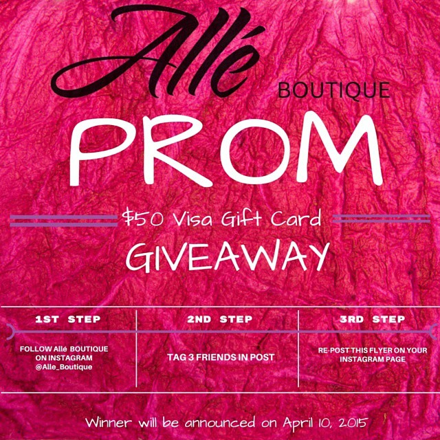 "Prom season is here! One lucky girl will have the chance to win a $50 Visa Gift Card from @alle_boutique. This gift card can help the recipient with nails, make-up, hair, shoes, dress..etc.  Please share with any high school girls that can benefit from this giveaway.! ""OWN YOUR PRETTY. OWN YOUR STYLE. BE YOU."" ~~Please follow rules on how to qualify for giveaway on flyer~~ #Prom2015 #promgiveaway #promgirl #highschool #highschoolgirl #ownit #highschoolsenior #highschooljunior #prom #promqueen"