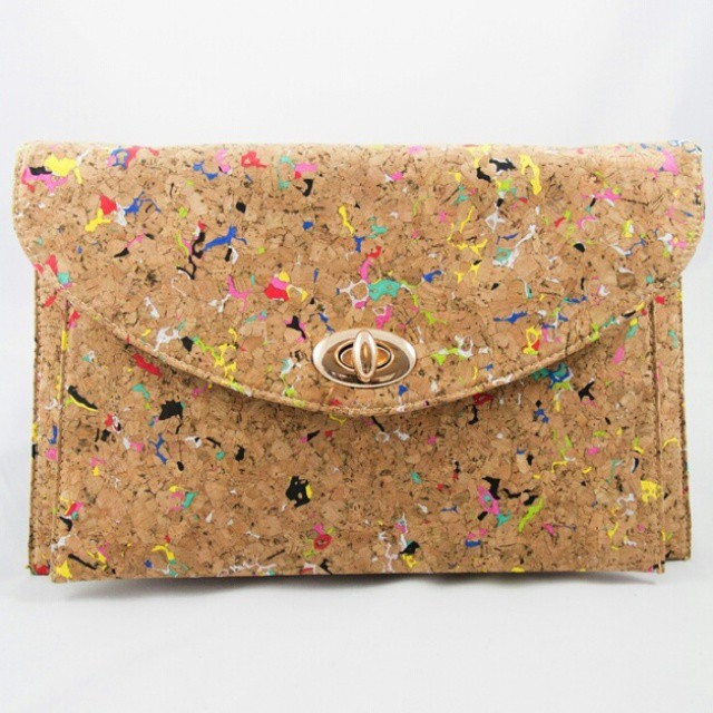 Splash Cork Clutch-Large  Perfect for spring and summer... Can be worn as a Clutch, Wristlet or Crosdbody. Shop alleboutique.com #corkscrewclutch #Chicaccessories #clutch #springaccessories #Style #purse #springpurse #funpurse #unique #fashion #fashionista #accessory #spring #beyou