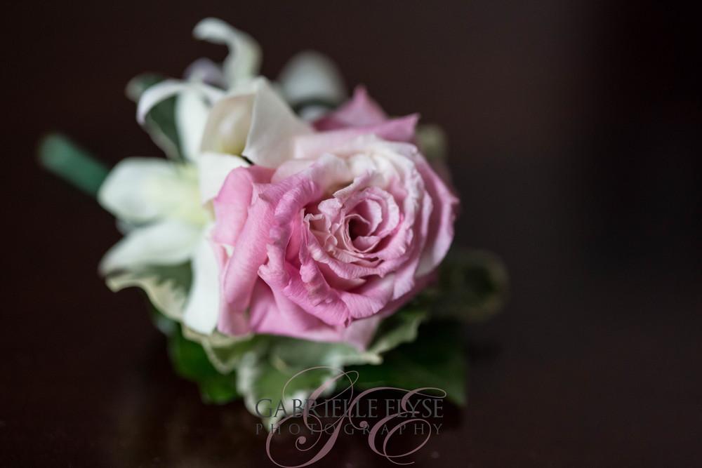 pink wedding boutonnière