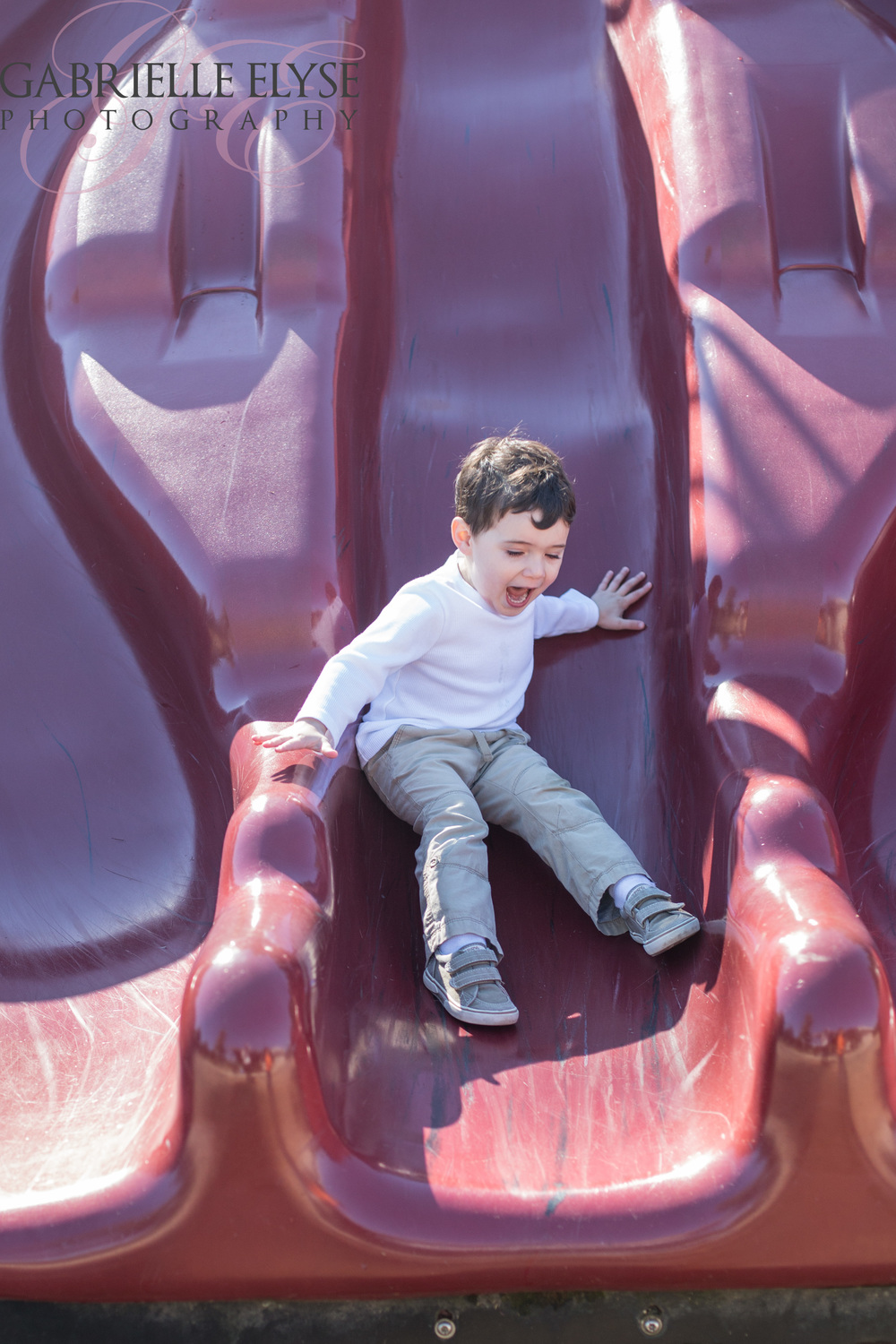 He is truly a ham!  And that was one bumpy slide!!!