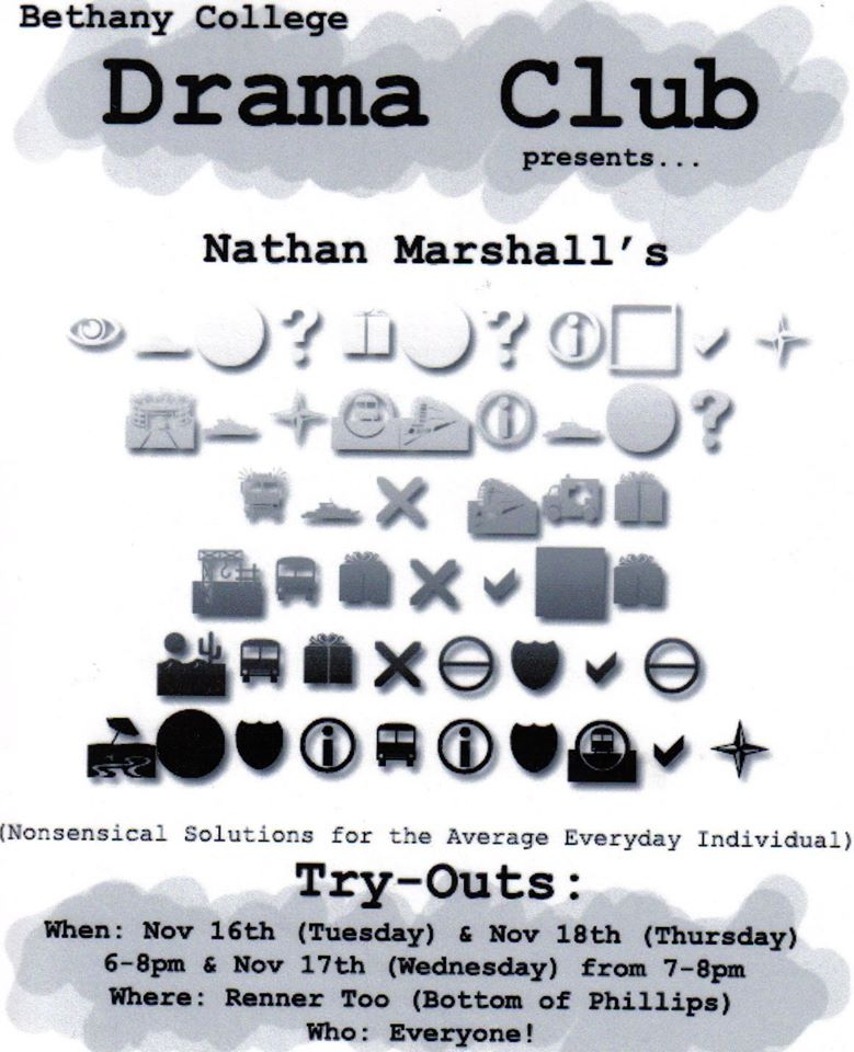 """STUDENT CREATED FLYER FOR MY ORIGINAL PLAY """"NONSENSICAL SOLUTIONS FOR THE AVERAGE, EVERYDAY INDIVIDUAL"""""""