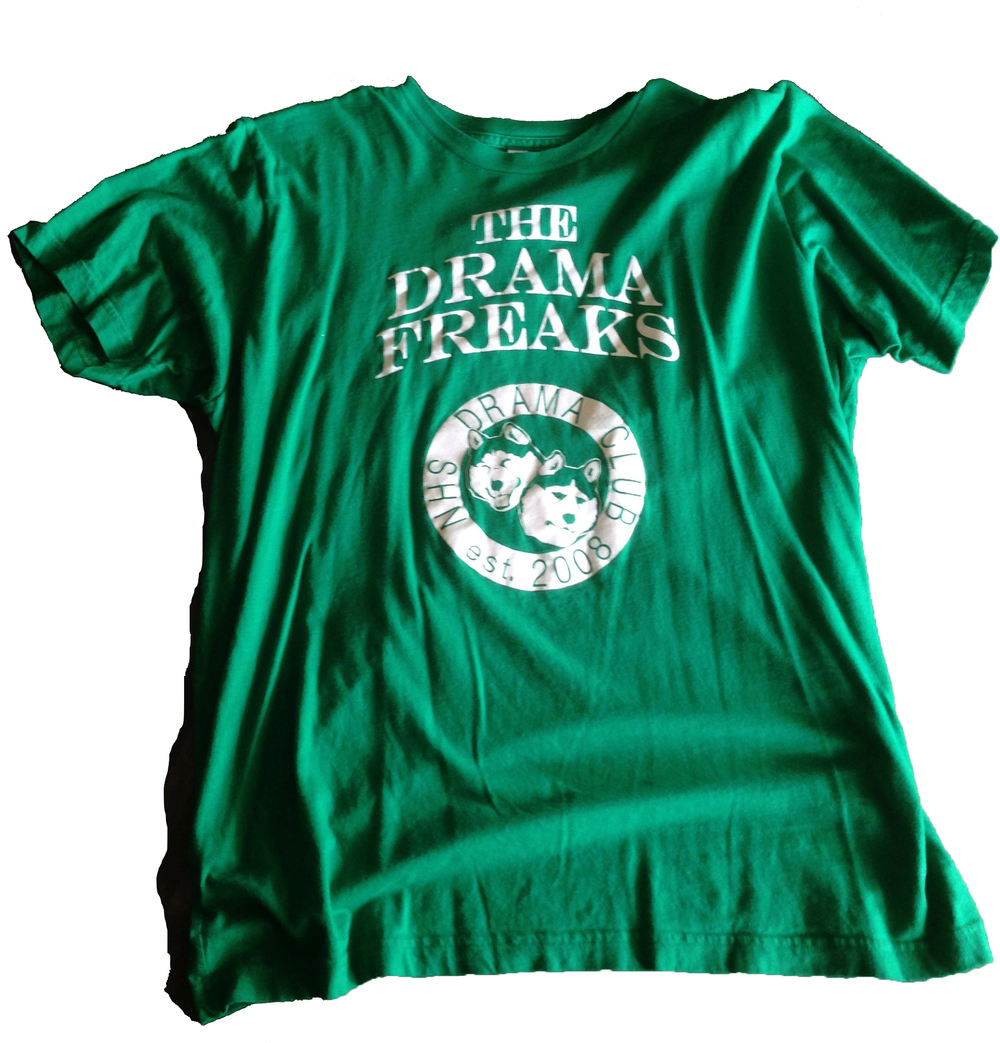 OUR DRAMA CLUB SHIRT FOR OUR BASKETBALL GAME AGAINST THE PITTSBURGH STEELERS