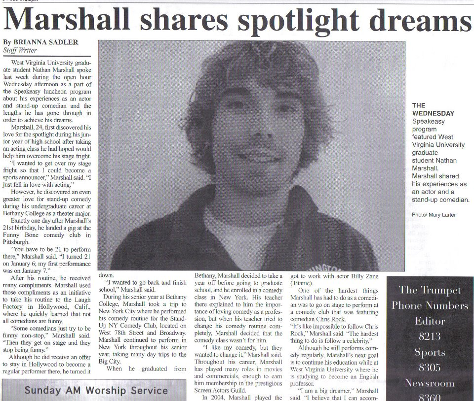 SOME PRESS I RECEIVED ON MY ACTING & STAND-UP COMEDY CAREER