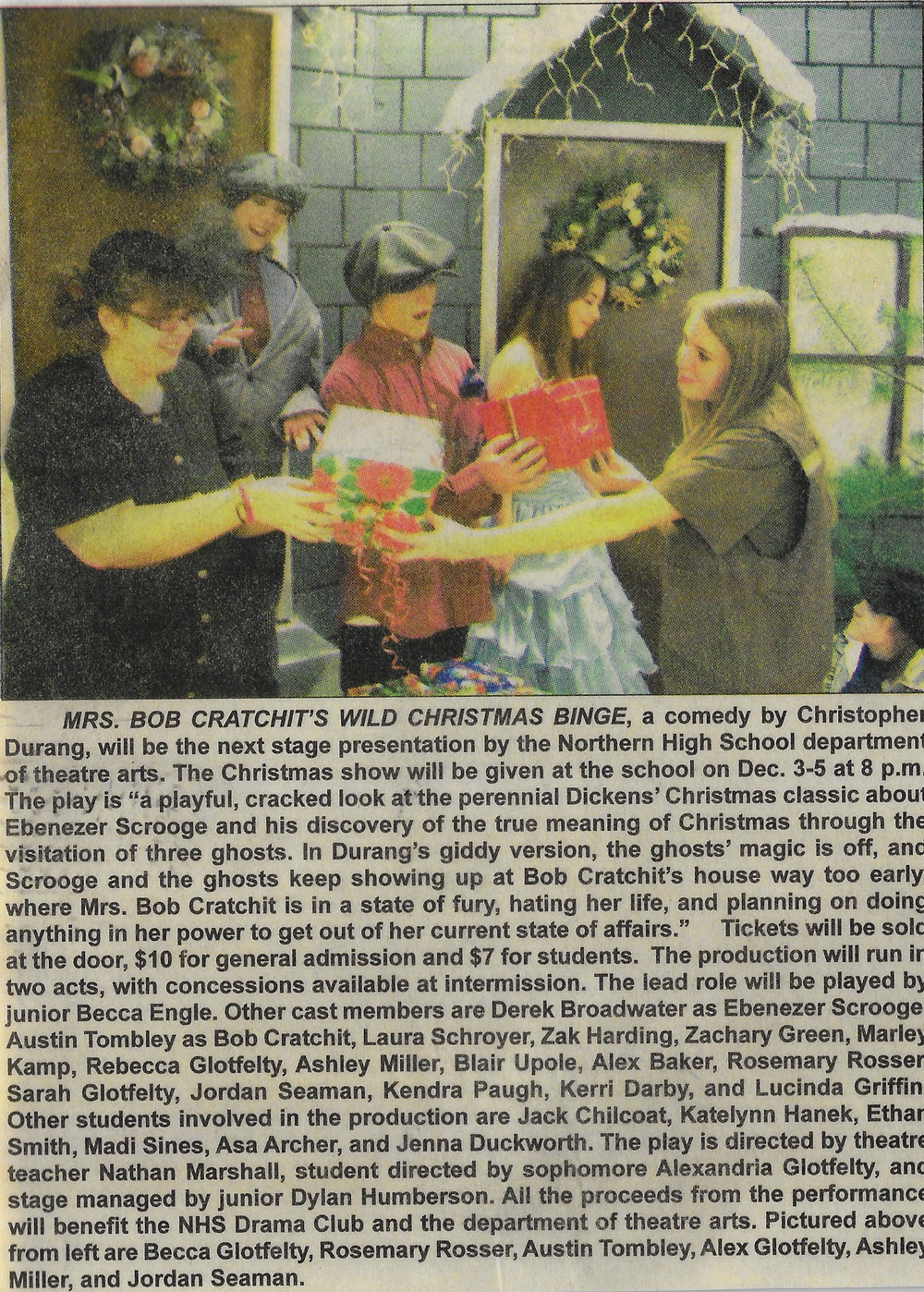 SOME PRESS FROM OUR CHRISTMAS PLAY