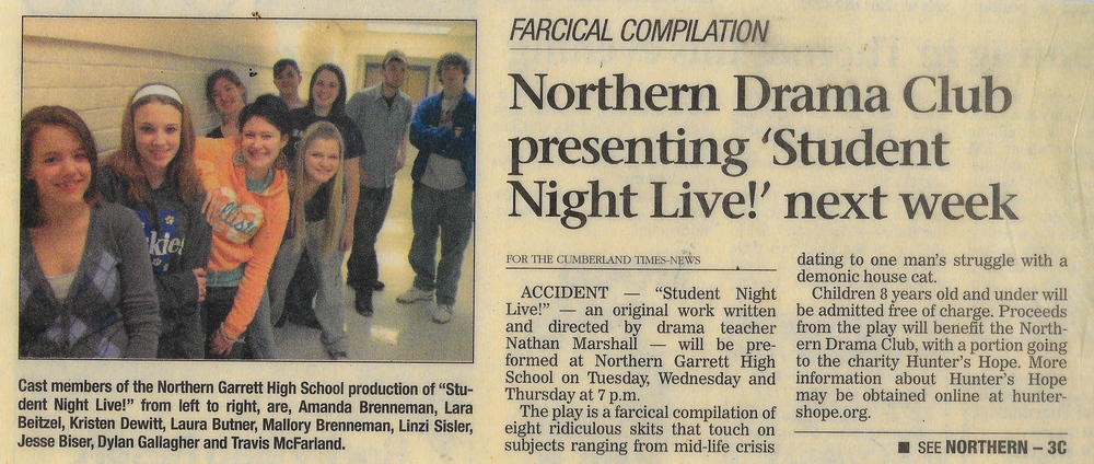 """SOME PRESS FOR A FULL-LENGTH PLAY I WORTE CALLED """"STUDENT NIGHT LIVE!"""""""