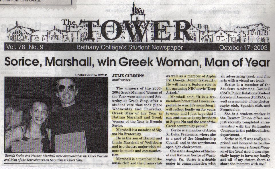 SOME PRESS ON WHEN I WAS GREEK MAN OF THE YEAR AT BETHANY COLLEGE