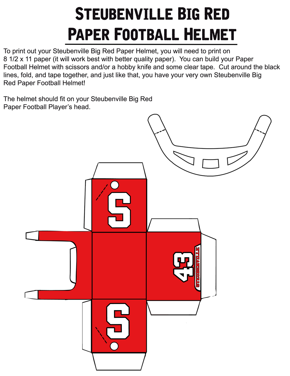 PAPER FOOTBALL PLAYER TEMPLATE PART #2