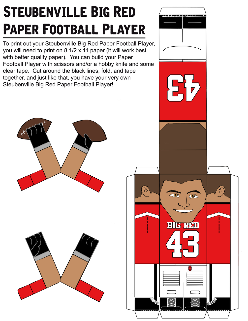 PAPER FOOTBALL PLAYER TEMPLATE PART #1