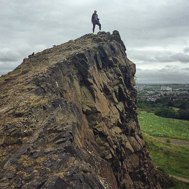 Standing on part of Scotland's Holyrood Rock.