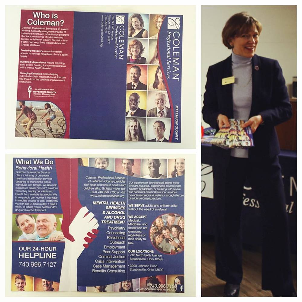KATHY MYERS, DIRECTOR OF PUBLIC RELATIONS & MARKETING AT COLEMAN, SHOWS OFF THE PRINT OF THEIR NEW BROCHURE