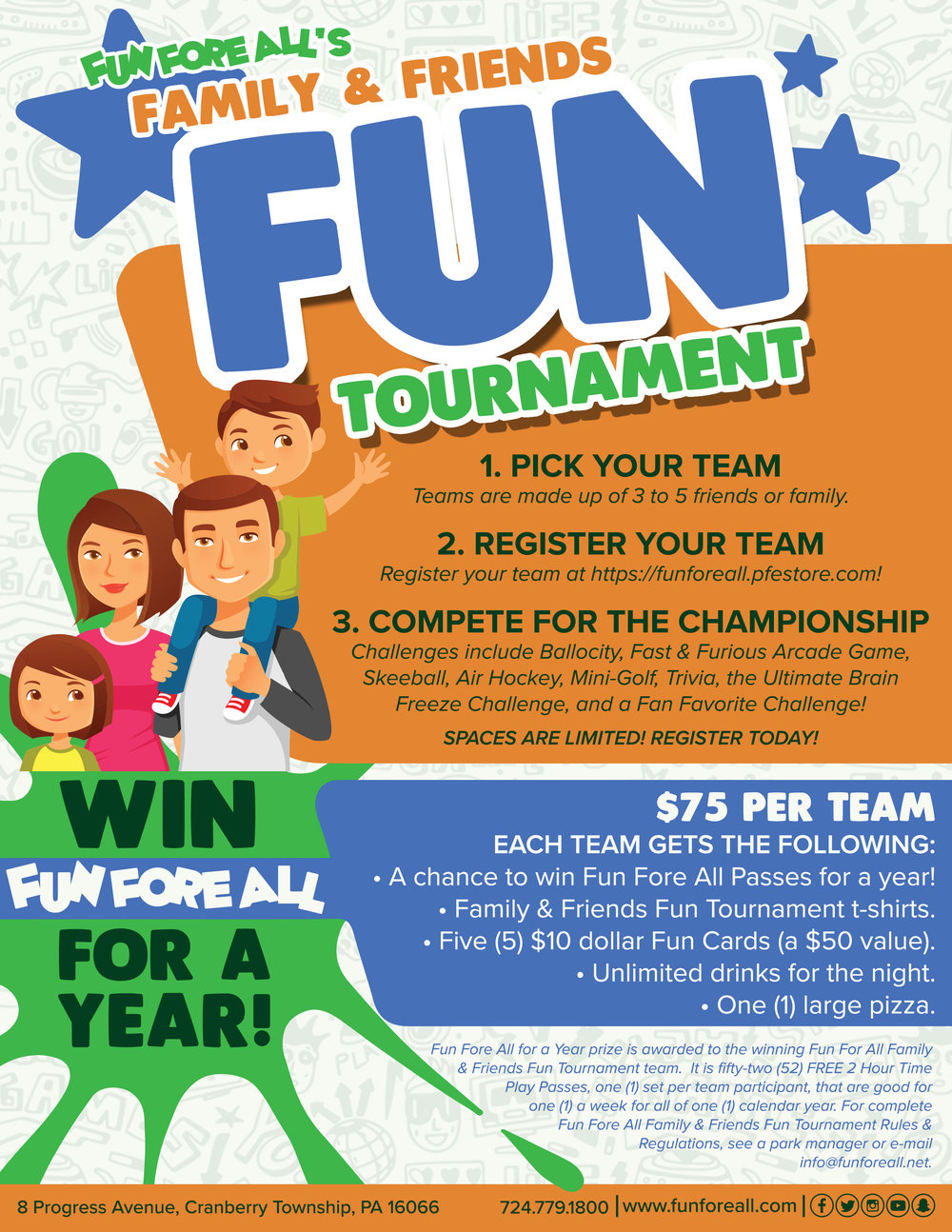 FAMILY & FRIENDS <br> TOURNAMENT FLYER (FRONT)