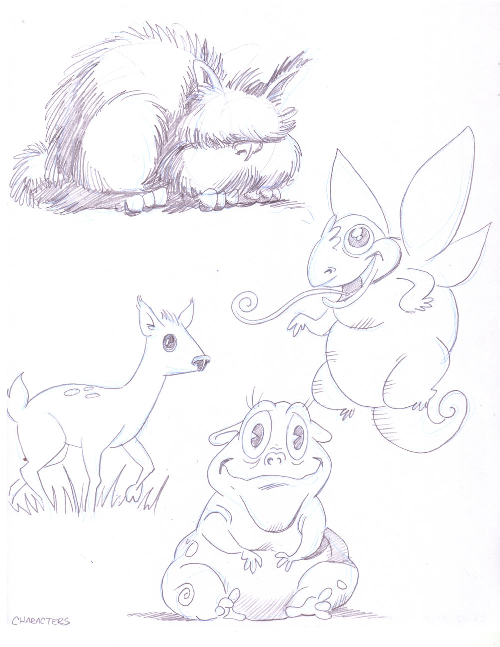 SAM THE SQUONK SAVES <br> THE PARK CHARACTER SKETCHES