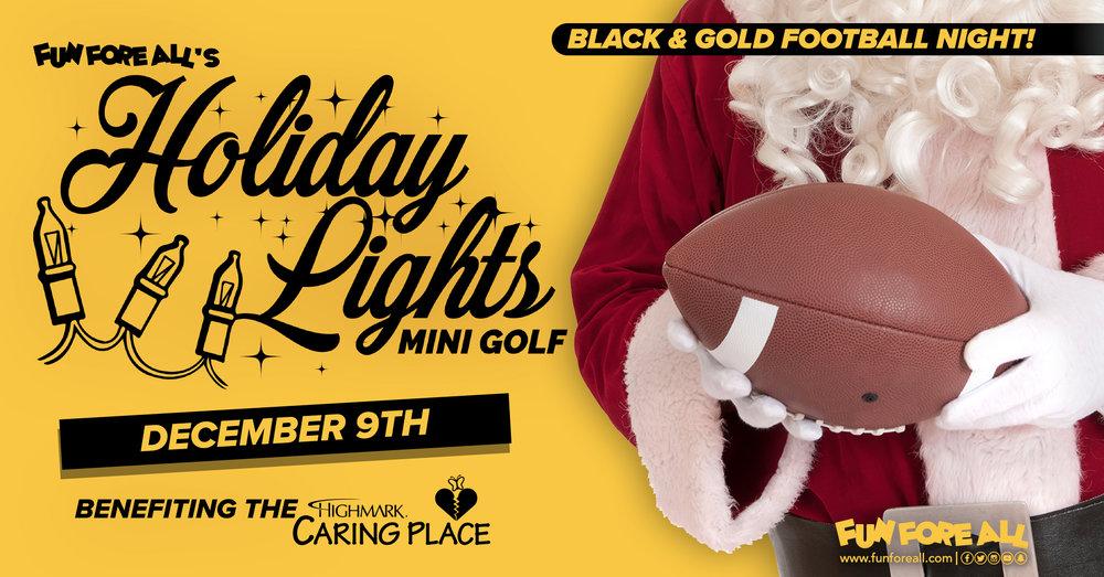 BLACK & GOLD FOOTBALL <br> NIGHT INVITE BANNER