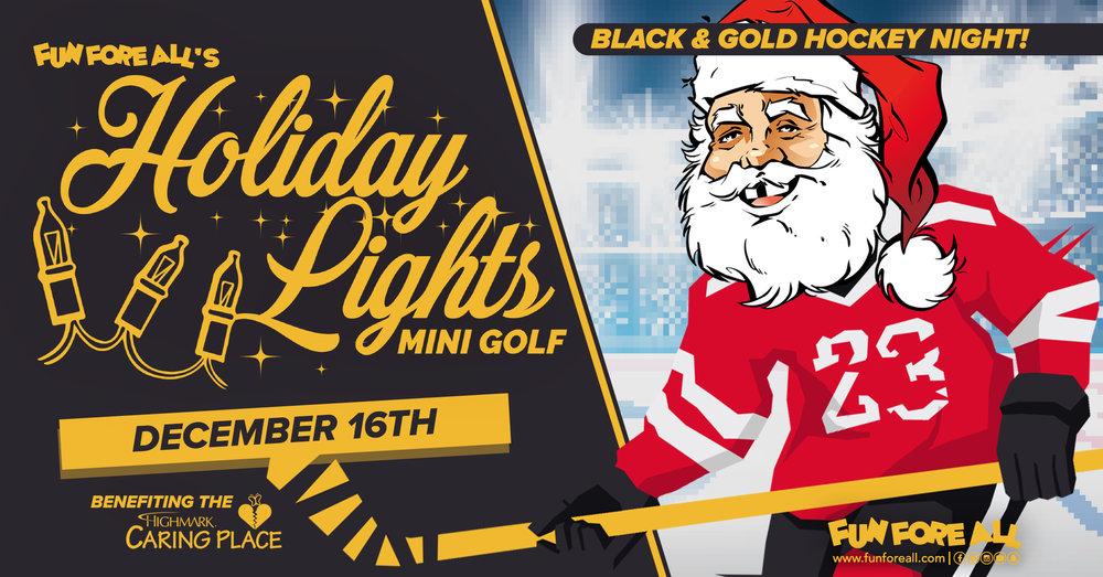 BLACK & GOLD HOCKEY <br> NIGHT INVITE BANNER