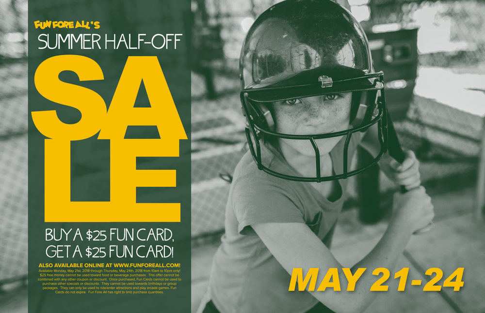 SUMMER HALF-OFF SALE <br> FLYER FRONT (2018)
