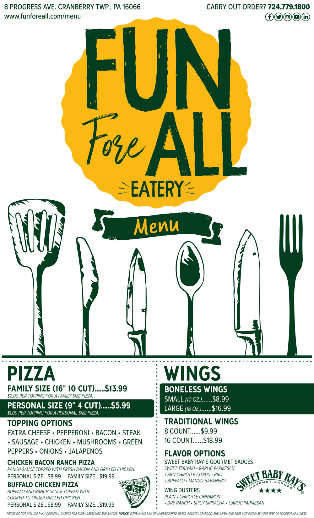 FUN FORE ALL EATERY MENU - FRONT (2019)