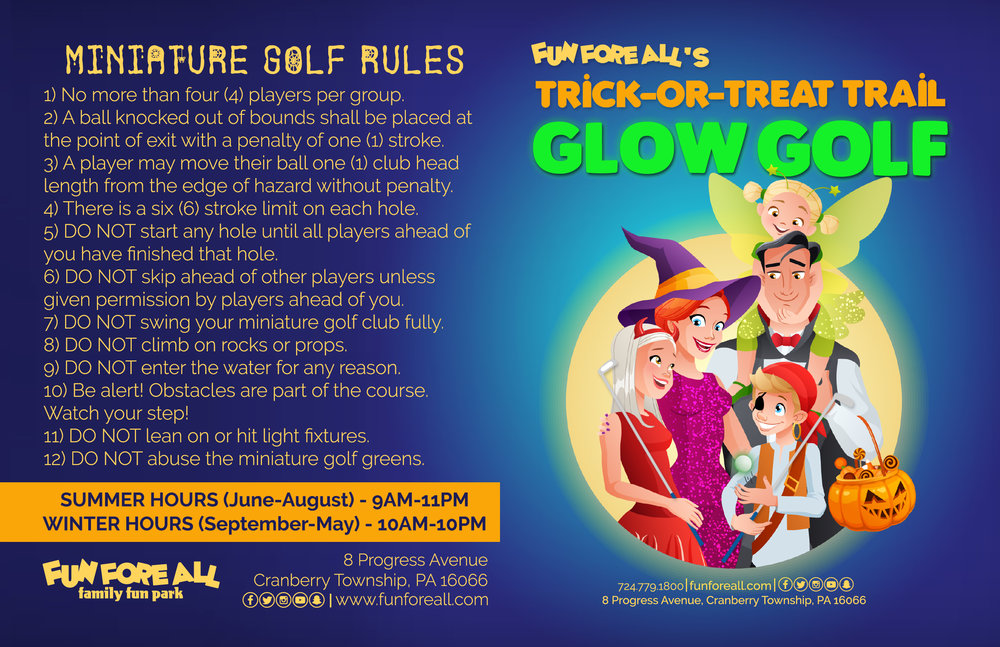 TRICK-OR-TREAT TRAIL GLOW GOLF SCORECARD - FRONT (2018)