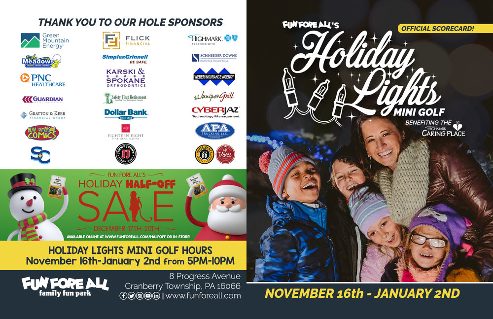 HOLIDAY LIGHTS MINI <br> GOLF SCORECARD (FRONT)