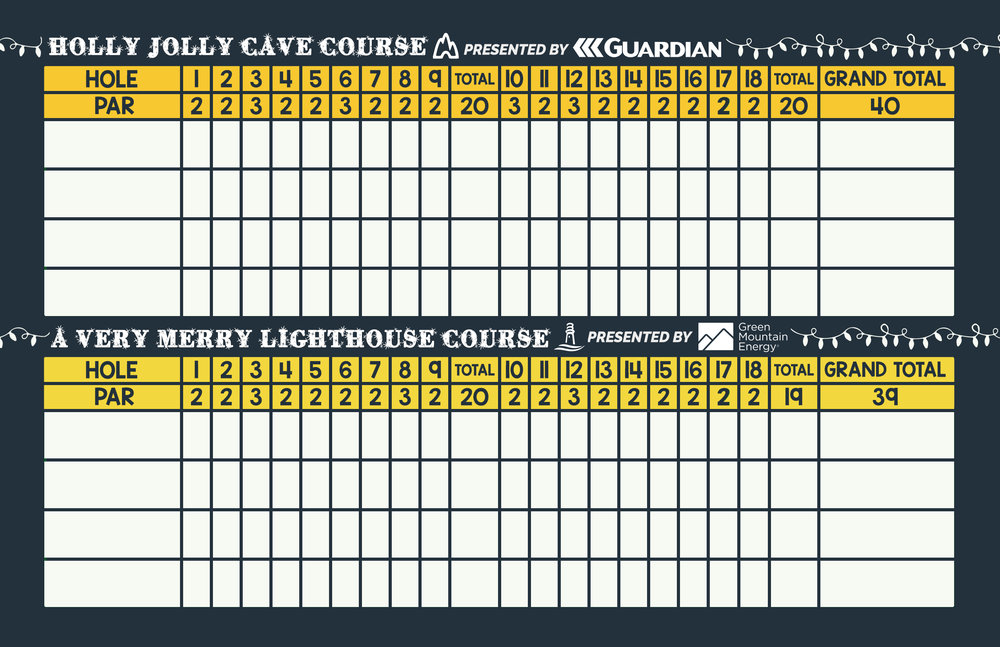 HOLIDAY LIGHTS MINI <br> GOLF SCORECARD (BACK)