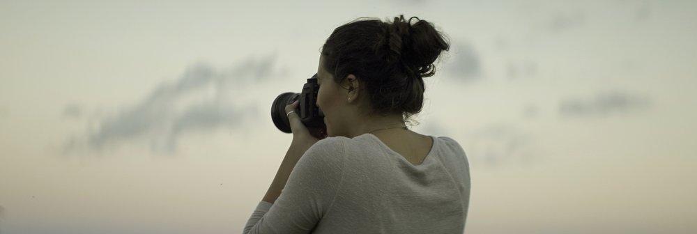 Lomo 100mm anamorphic lens | Olivia snapping a photo on the Canon 5D mark iii - Mackinac Island, MI - Photo by: Keith Nickoson