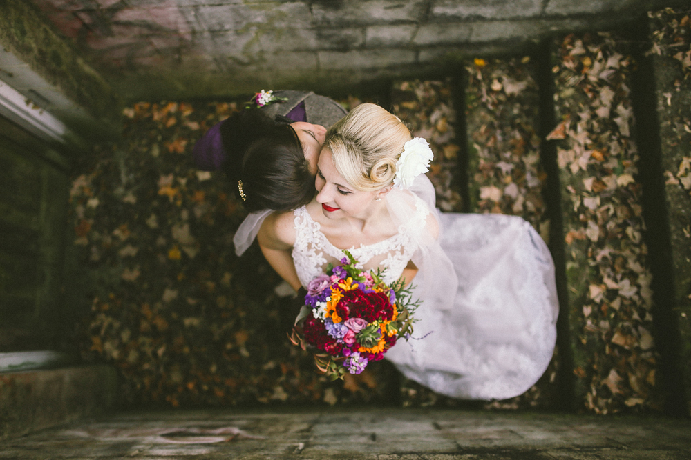 same sex bridal portraits with kentucky leaves