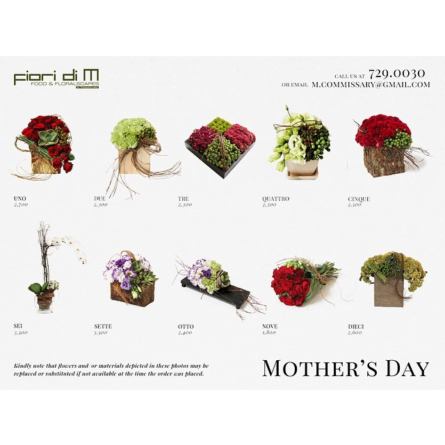 Presenting our stunning Mother's Day arrangements. Call 729.0030 or email m.commissary@gmail.com #FioriDiM #MothersDay