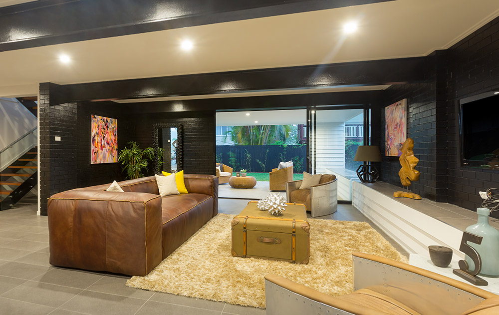 Two of my paintings add a splash of colour to this ground floor den in a home built by my husband, Todd of  ZieglerBuild  and styled by  Coco Republic .