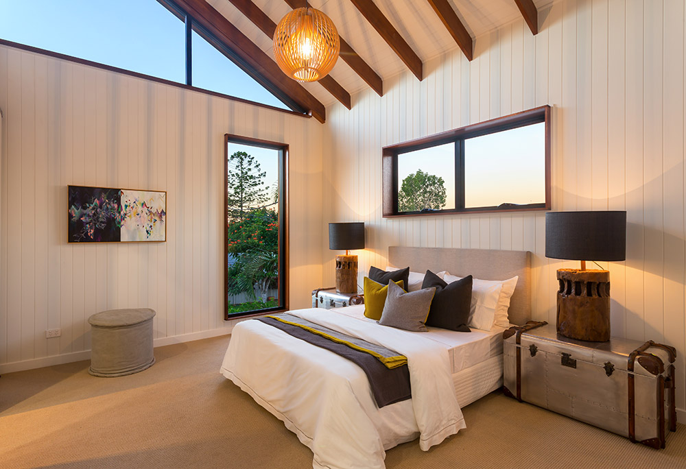 """A framed original """"Antithesis""""complements this bedroom beautifully. This house built by my husband Todd of  ZieglerBuild  and styled by  Coco Republic ."""