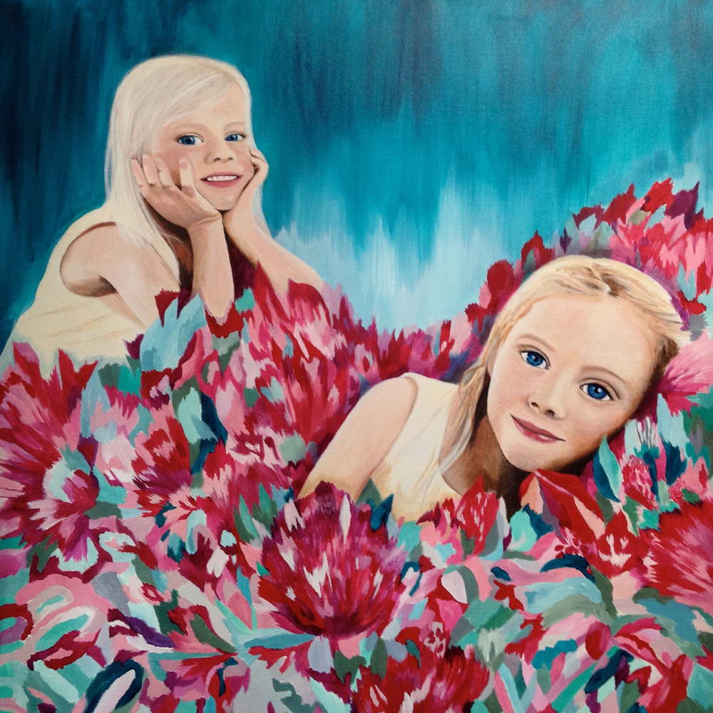 This is a commissioned painting for a friend's sister of her two gorgeous girls.