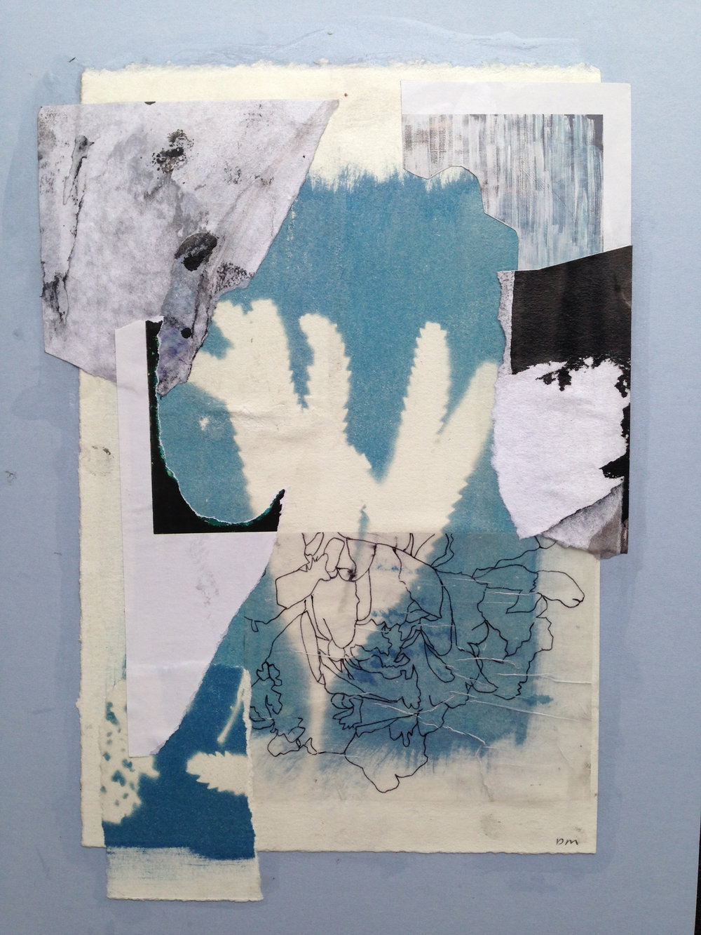 Cyanotype, pen drawing on tracing paper, torn old sketches and magazine page