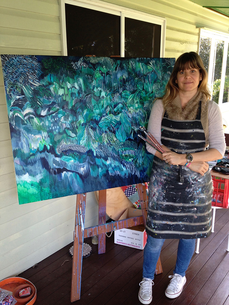 Me with the completed piece when I was living in my little rental in Graceville in Brisbane 2015