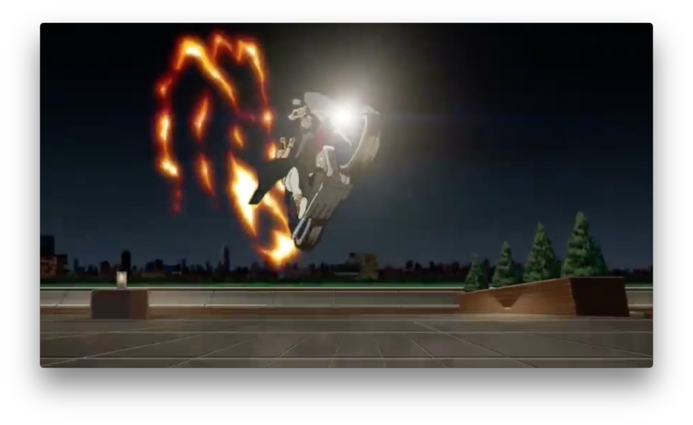 The biker guy definitely has some moves, though. The fire behind his bike, combined with-