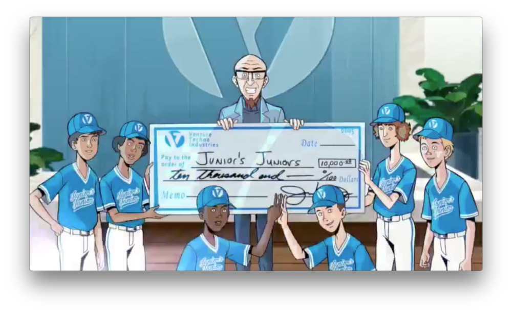 Rusty probably isn't very comfortable with all the press-friendly events he likely has to take over since the passing of his brother. Don't be surprised if this check to the Venture Techno Industries little league team doesn't actually make it to them...