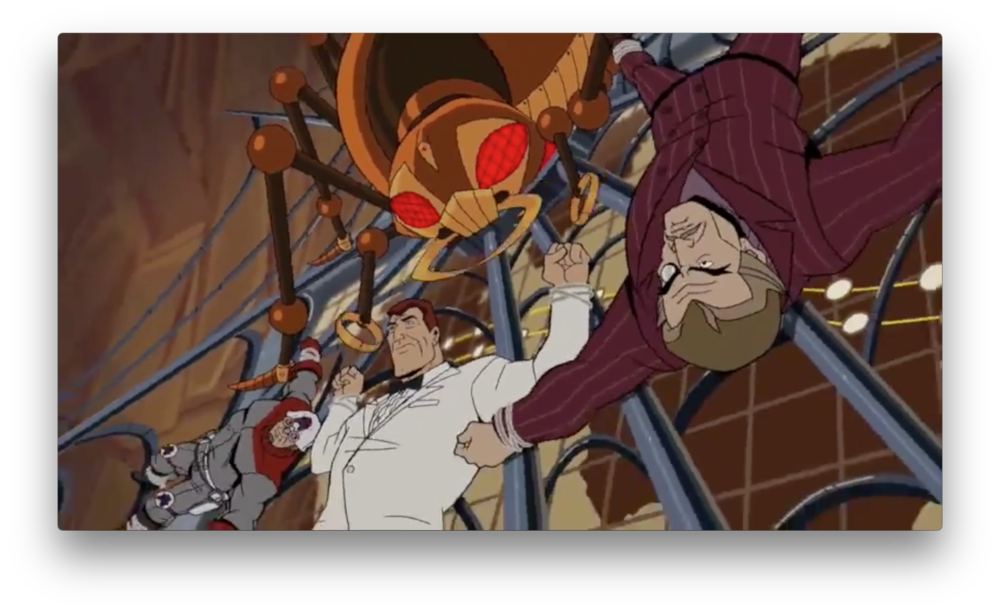 A good ol' fashioned flashback to the good ol' fashioned Team Venture, caught in the web of a mechanical spider. Considering the flashback we saw in the epilogue, they're probably in the lair of-