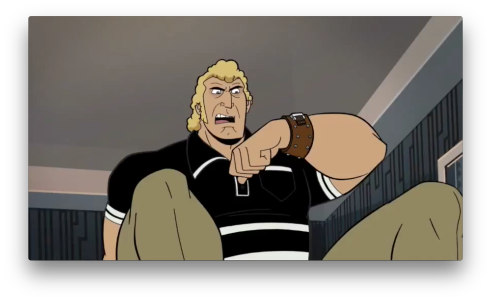 A new take on Brock's old, striped black shirt? It almost looks Western-styled. He keeps his communicator watch though, indicating a renewed closeness to the Venture family.