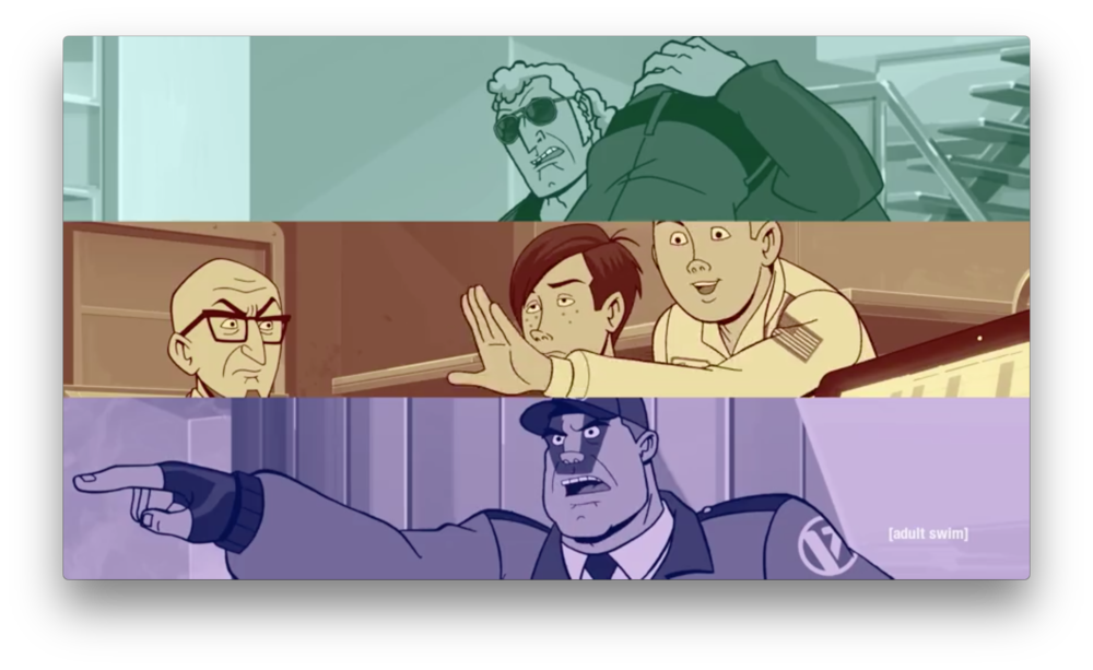 Brock is moving someone unconscious over his shoulder, Sgt. Vatred is pointing with assumed authority, and Hank is impressed with something Doc and Dean are not. Familiar sights.
