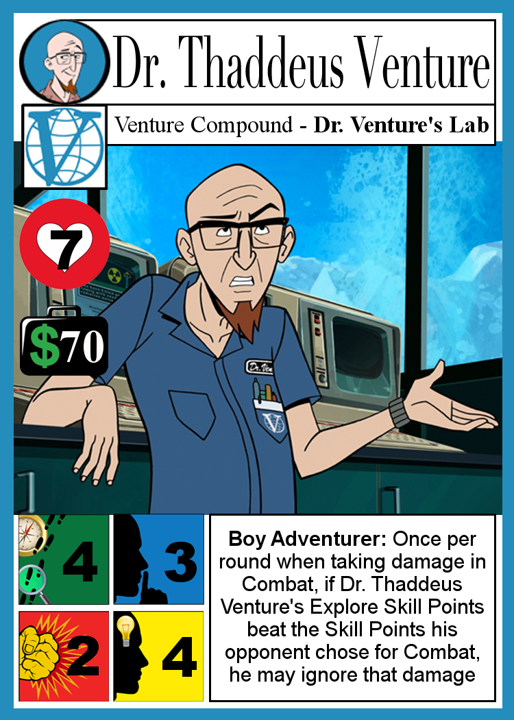 Old draft of Dr. Venture's Character Card: a mess of various fonts, and not quite applicable to the current ruleset.
