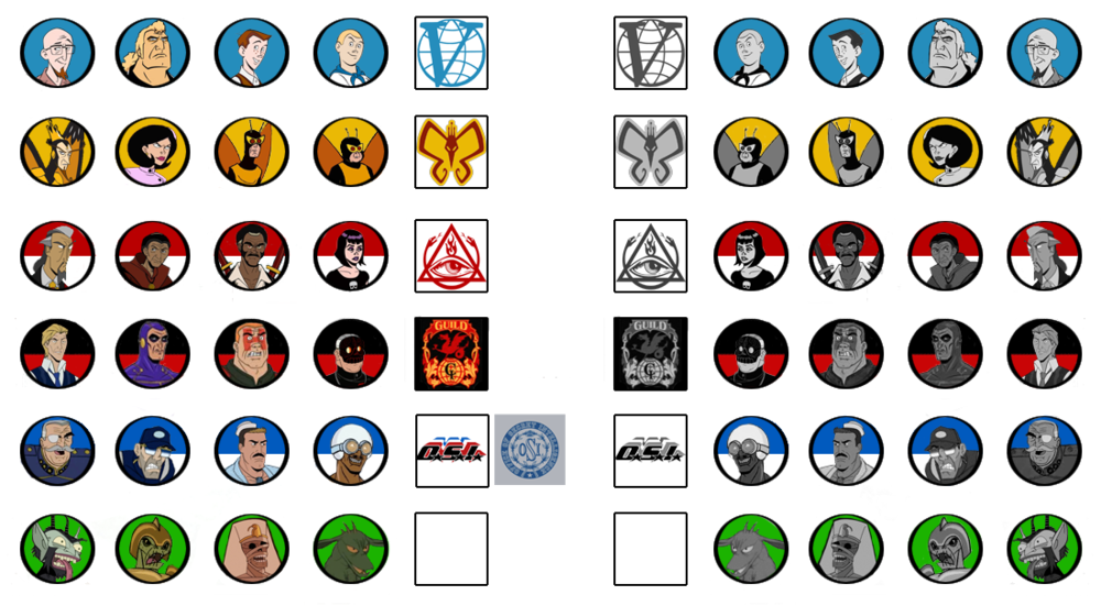 "Character and Faction Token drafts. I needed a ""dormant"" side as well for kidnapped or hidden Characters. (Don't tell anyone that Chupacabra isn't exactly alive in that cut-and-pasted pic!)"