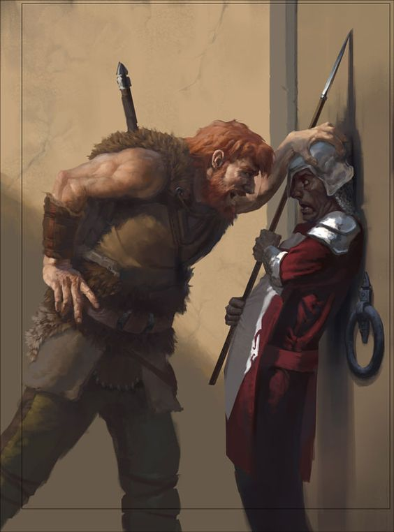 A Barbarian Intimidates a Guard. Art by  Mark Behm