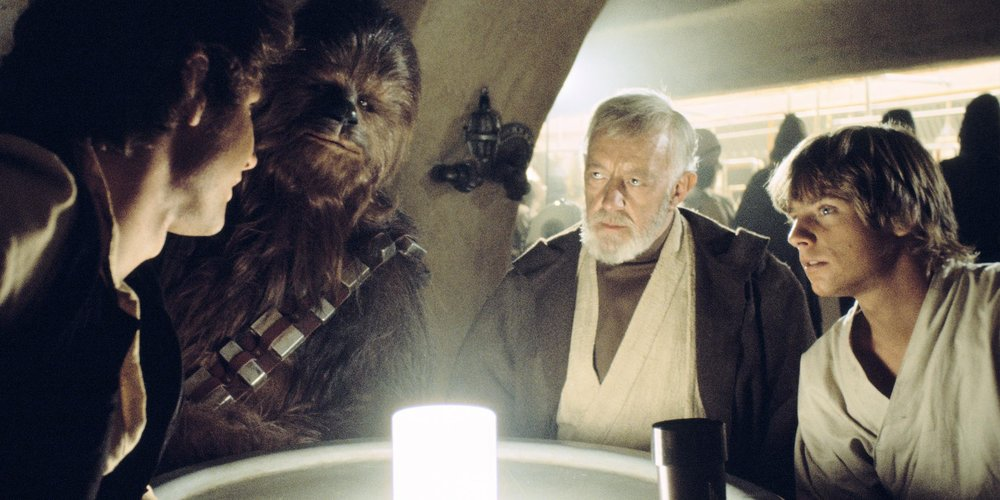 """Chewie here tells me you're looking for passage to the Alderaan system."" From  Star Wars: Episode IV – A New Hope , 1977"
