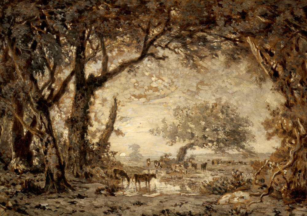 Sunset from the Forest of Fontainebleau, Theodore Rousseau, 1848