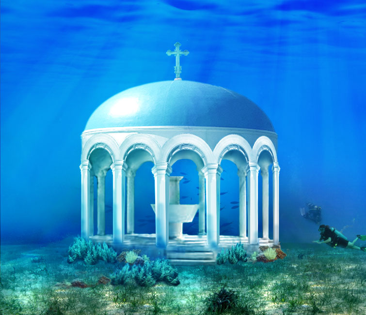 Underwater wedding chapel concept designed by RDL for Cyprus, the island of Aphrodite, and based on local architecture. Includes a unique air chamber for the once in a lifetime experience of exchanging vows 10 fathoms under the sea.